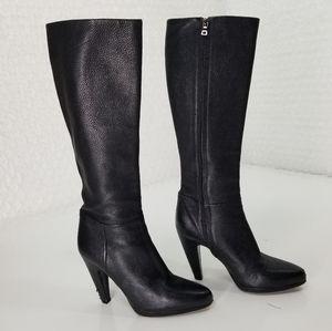 Prada black leather knee high heeled boots